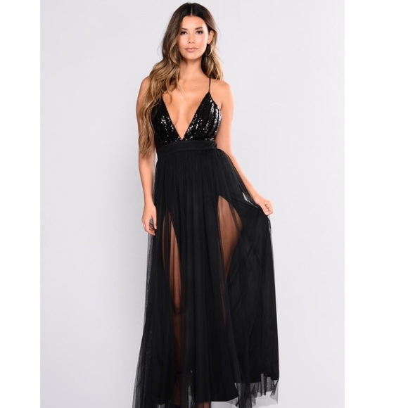 859531ea5b6 Black sequin maxi dress with double slits.